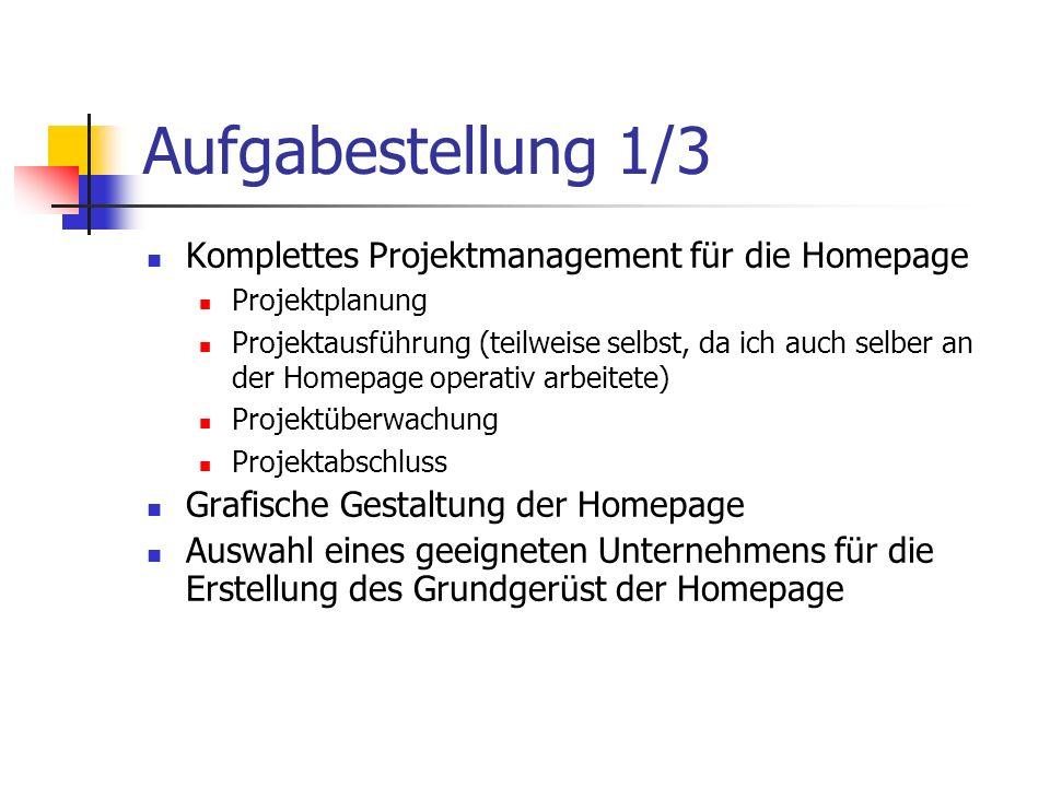 Aufgabestellung 1/3 Komplettes Projektmanagement für die Homepage Projektplanung Projektausführung (teilweise selbst, da ich auch selber an der Homepage operativ arbeitete) Projektüberwachung Projektabschluss Grafische Gestaltung der Homepage Auswahl eines geeigneten Unternehmens für die Erstellung des Grundgerüst der Homepage