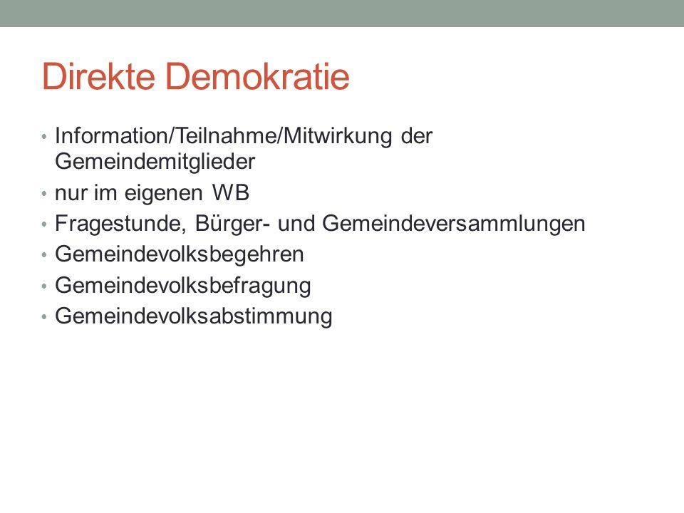Direkte Demokratie Information/Teilnahme/Mitwirkung der Gemeindemitglieder nur im eigenen WB Fragestunde, Bürger- und Gemeindeversammlungen Gemeindevo