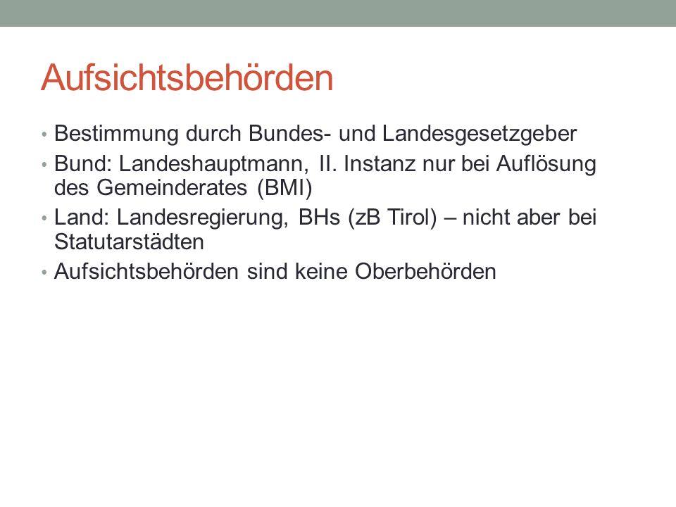 Aufsichtsbehörden Bestimmung durch Bundes- und Landesgesetzgeber Bund: Landeshauptmann, II. Instanz nur bei Auflösung des Gemeinderates (BMI) Land: La