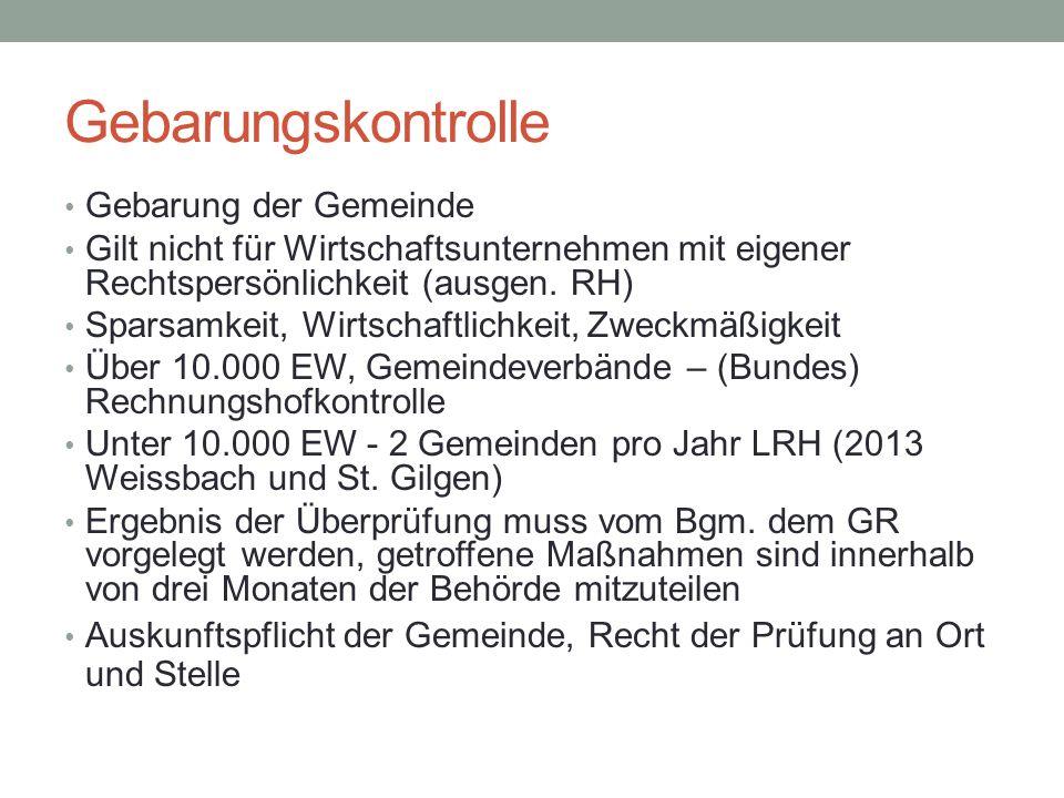 Gebarungskontrolle Gebarung der Gemeinde Gilt nicht für Wirtschaftsunternehmen mit eigener Rechtspersönlichkeit (ausgen. RH) Sparsamkeit, Wirtschaftli