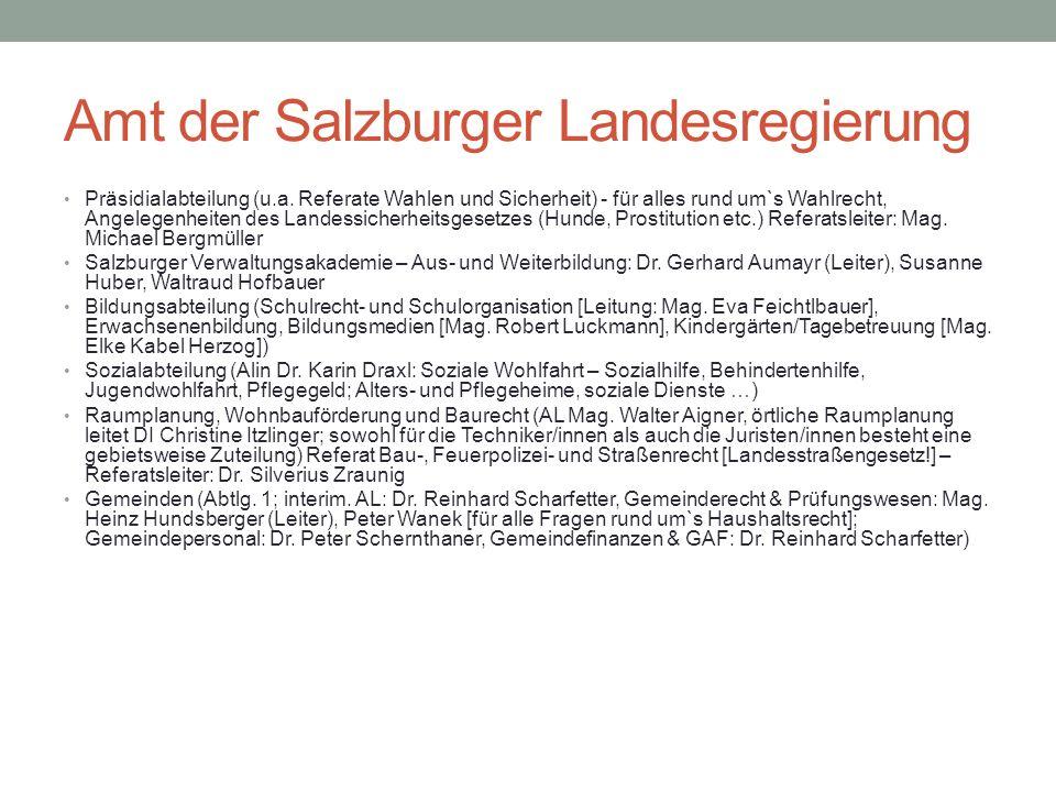 Amt der Salzburger Landesregierung Präsidialabteilung (u.a. Referate Wahlen und Sicherheit) - für alles rund um`s Wahlrecht, Angelegenheiten des Lande