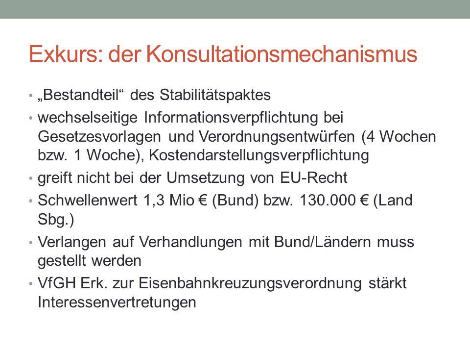 """Exkurs: der Konsultationsmechanismus """"Bestandteil"""" des Stabilitätspaktes wechselseitige Informationsverpflichtung bei Gesetzesvorlagen und Verordnungs"""