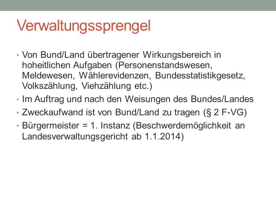 Verwaltungssprengel Von Bund/Land übertragener Wirkungsbereich in hoheitlichen Aufgaben (Personenstandswesen, Meldewesen, Wählerevidenzen, Bundesstati