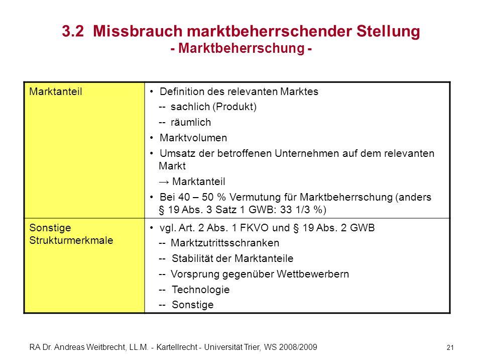 RA Dr. Andreas Weitbrecht, LL.M. - Kartellrecht - Universität Trier, WS 2008/2009 3.2 Missbrauch marktbeherrschender Stellung - Marktbeherrschung - Ma
