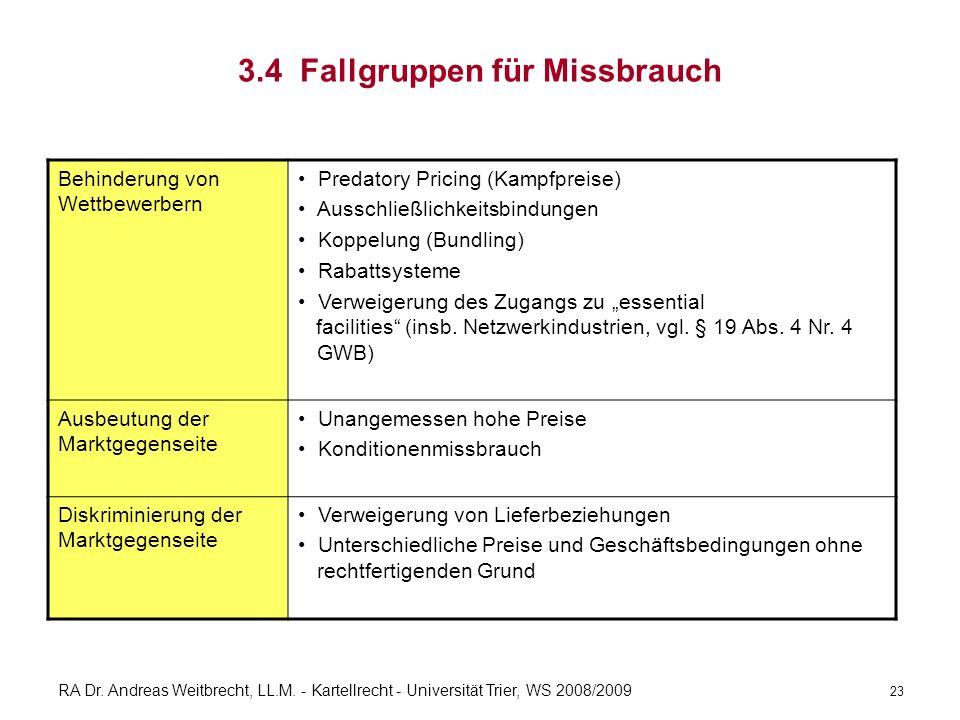 RA Dr. Andreas Weitbrecht, LL.M. - Kartellrecht - Universität Trier, WS 2008/2009 3.4 Fallgruppen für Missbrauch Behinderung von Wettbewerbern Predato