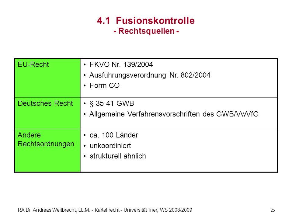 RA Dr. Andreas Weitbrecht, LL.M. - Kartellrecht - Universität Trier, WS 2008/2009 4.1 Fusionskontrolle - Rechtsquellen - EU-Recht FKVO Nr. 139/2004 Au
