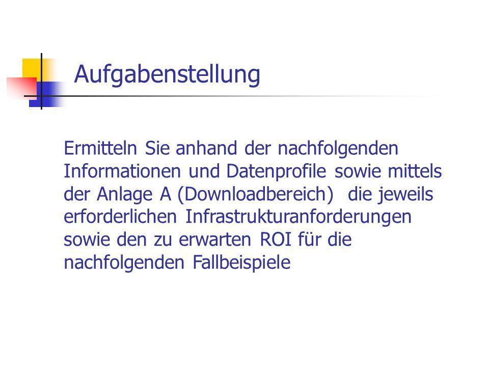 Aufgabenstellung Ermitteln Sie anhand der nachfolgenden Informationen und Datenprofile sowie mittels der Anlage A (Downloadbereich) die jeweils erford