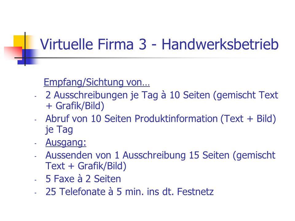 Virtuelle Firma 3 - Handwerksbetrieb Empfang/Sichtung von… - 2 Ausschreibungen je Tag à 10 Seiten (gemischt Text + Grafik/Bild) - Abruf von 10 Seiten