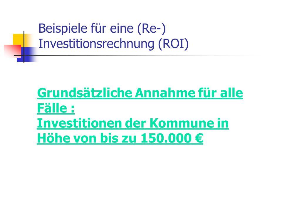 Beispiele für eine (Re-) Investitionsrechnung (ROI) Grundsätzliche Annahme für alle Fälle : Investitionen der Kommune in Höhe von bis zu 150.000 €
