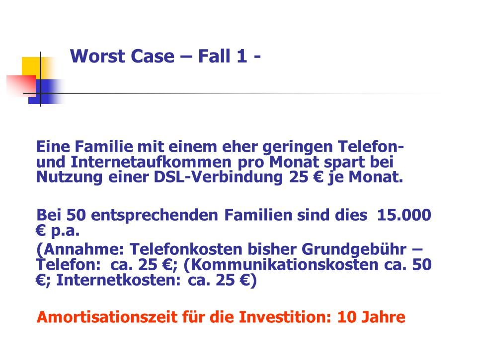Worst Case – Fall 1 - Eine Familie mit einem eher geringen Telefon- und Internetaufkommen pro Monat spart bei Nutzung einer DSL-Verbindung 25 € je Mon