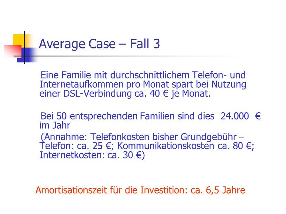 Average Case – Fall 3 Eine Familie mit durchschnittlichem Telefon- und Internetaufkommen pro Monat spart bei Nutzung einer DSL-Verbindung ca. 40 € je