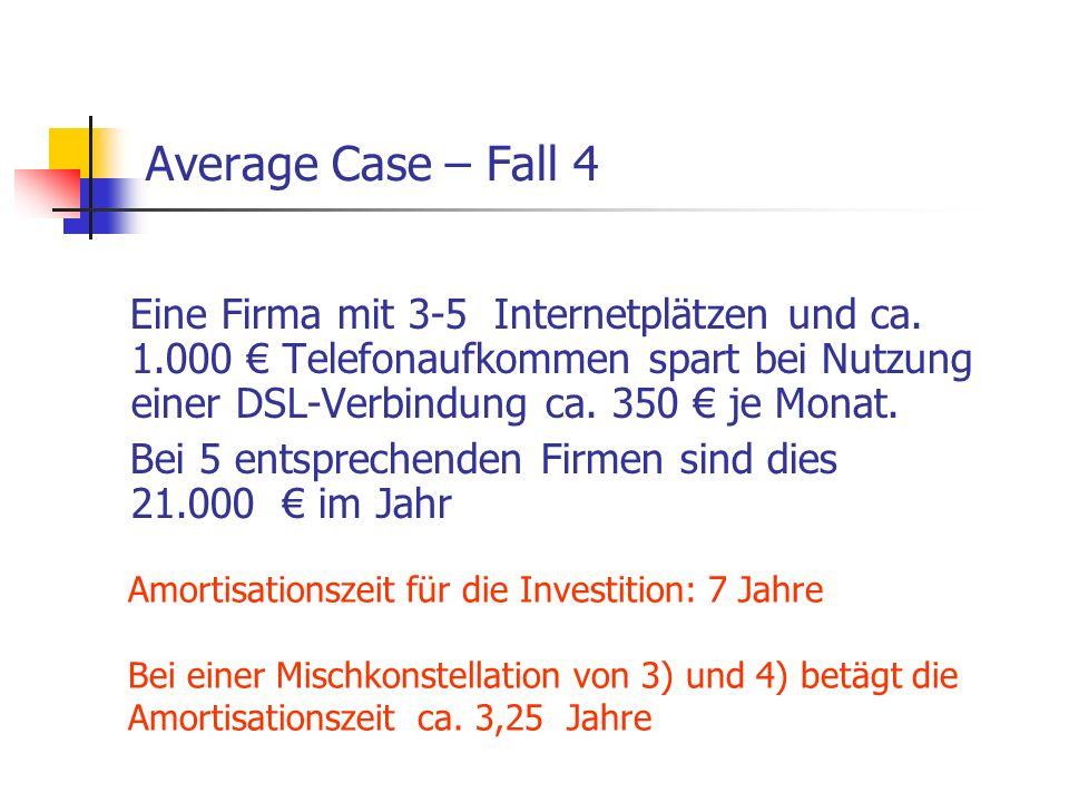 Average Case – Fall 4 Eine Firma mit 3-5 Internetplätzen und ca. 1.000 € Telefonaufkommen spart bei Nutzung einer DSL-Verbindung ca. 350 € je Monat. B
