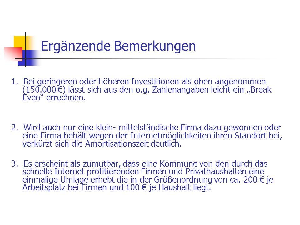"""Ergänzende Bemerkungen 1. Bei geringeren oder höheren Investitionen als oben angenommen (150.000 €) lässt sich aus den o.g. Zahlenangaben leicht ein """""""