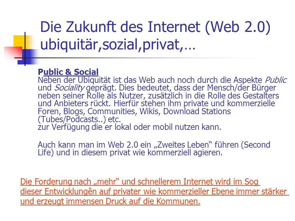 Die Zukunft des Internet (Web 2.0) ubiquitär,sozial,privat,… Public & Social Neben der Ubiquität ist das Web auch noch durch die Aspekte Public und So