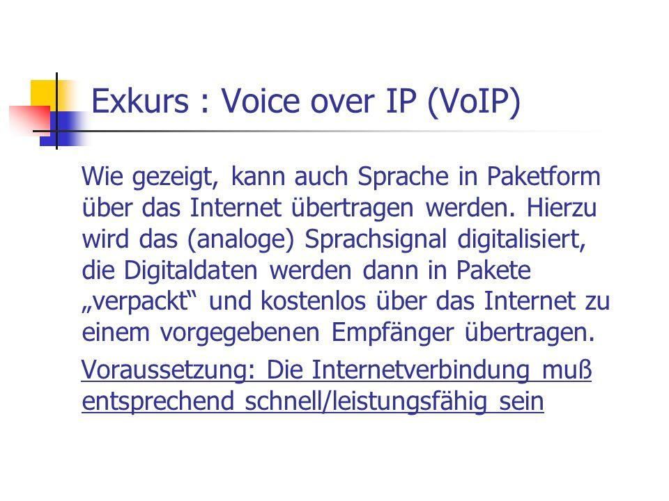 Exkurs : Voice over IP (VoIP) Wie gezeigt, kann auch Sprache in Paketform über das Internet übertragen werden. Hierzu wird das (analoge) Sprachsignal
