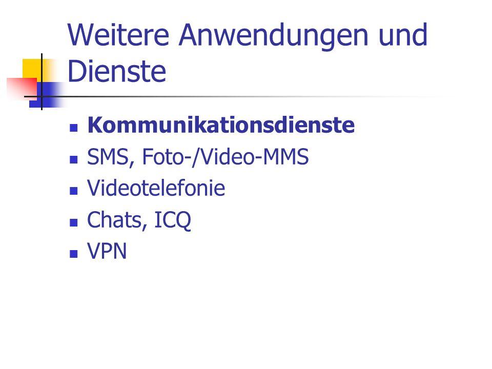 Weitere Anwendungen und Dienste Kommunikationsdienste SMS, Foto-/Video-MMS Videotelefonie Chats, ICQ VPN