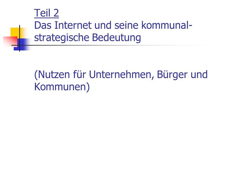 Teil 2 Das Internet und seine kommunal- strategische Bedeutung (Nutzen für Unternehmen, Bürger und Kommunen)