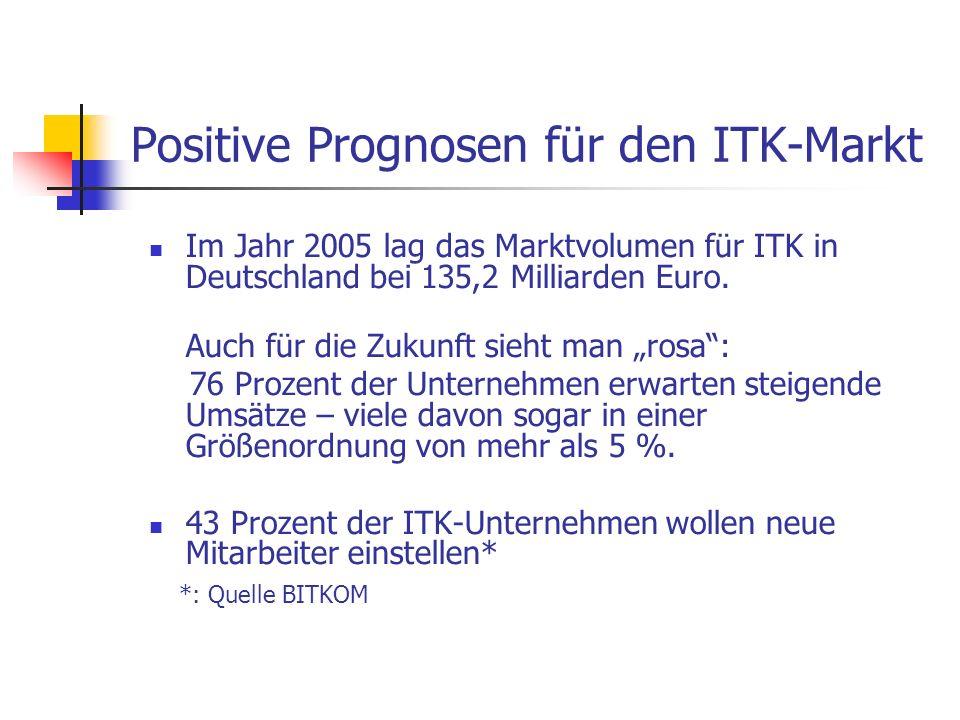 Positive Prognosen für den ITK-Markt Im Jahr 2005 lag das Marktvolumen für ITK in Deutschland bei 135,2 Milliarden Euro. Auch für die Zukunft sieht ma