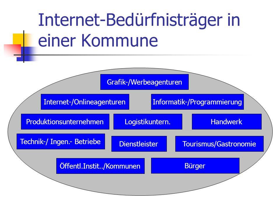 Internet-Bedürfnisträger in einer Kommune Grafik-/Werbeagenturen Informatik-/ProgrammierungInternet-/Onlineagenturen ProduktionsunternehmenLogistikunt