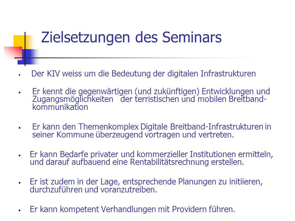 Zielsetzungen des Seminars  Der KIV weiss um die Bedeutung der digitalen Infrastrukturen  Er kennt die gegenwärtigen (und zukünftigen) Entwicklungen