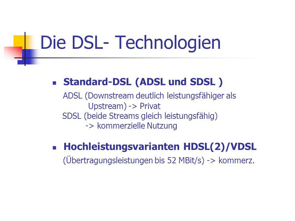 Die DSL- Technologien Standard-DSL (ADSL und SDSL ) ADSL (Downstream deutlich leistungsfähiger als Upstream) -> Privat SDSL (beide Streams gleich leis