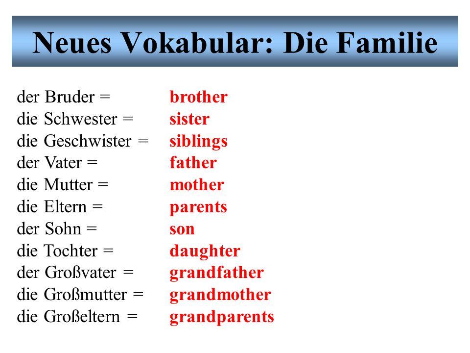 Neues Vokabular: Die Familie Übung # 3: Partnerarbeit