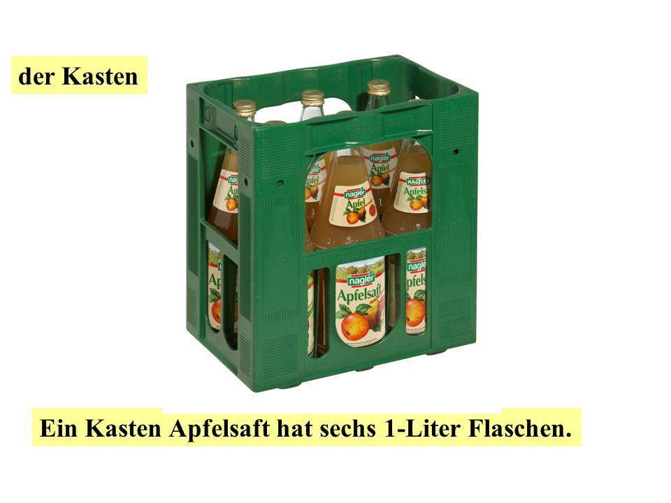 der Kasten die Flasche Ein Kasten Bier hat 20 0.5-Liter Flaschen oder 24 0.33-Liter Flaschen.