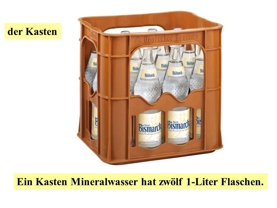 der Kasten Ein Kasten Apfelsaft hat sechs 1-Liter Flaschen.