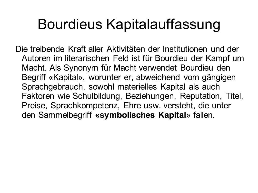 Bourdieus Kapitalauffassung Die treibende Kraft aller Aktivitäten der Institutionen und der Autoren im literarischen Feld ist für Bourdieu der Kampf u