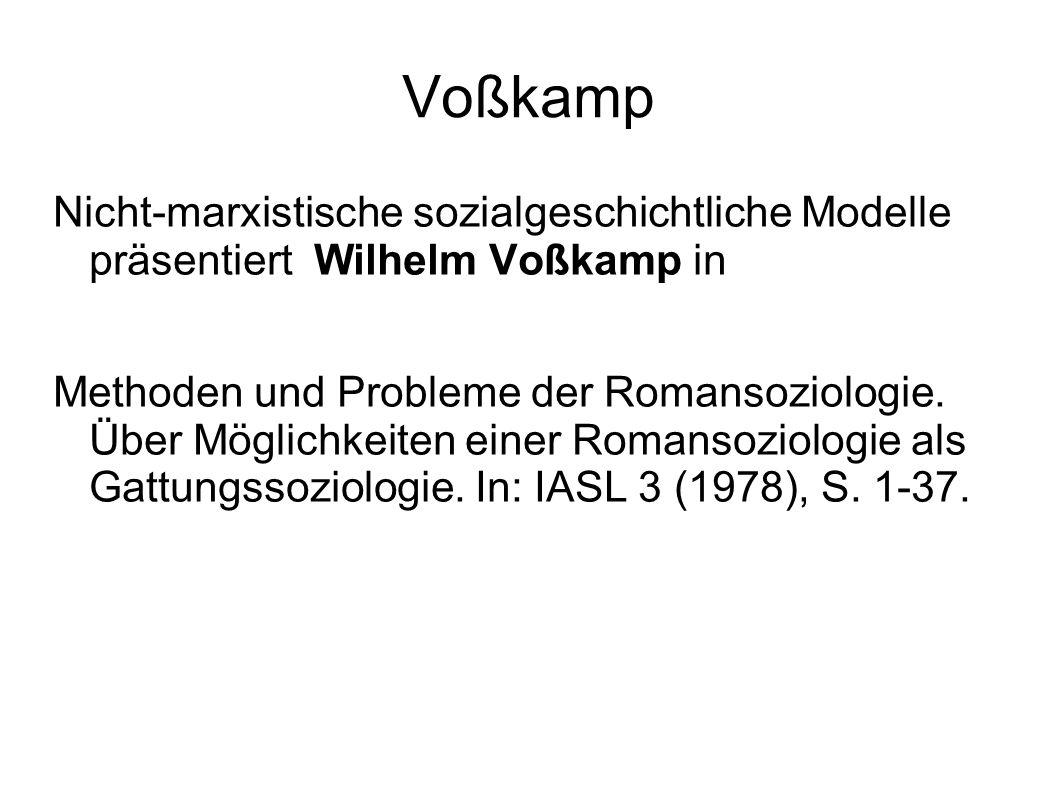 Voßkamp Nicht-marxistische sozialgeschichtliche Modelle präsentiert Wilhelm Voßkamp in Methoden und Probleme der Romansoziologie. Über Möglichkeiten e