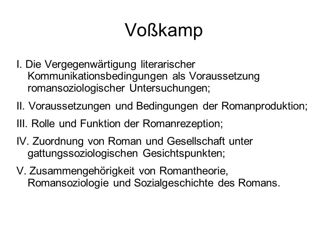 Voßkamp I. Die Vergegenwärtigung literarischer Kommunikationsbedingungen als Voraussetzung romansoziologischer Untersuchungen; II. Voraussetzungen und