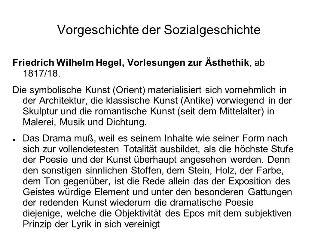 Vorgeschichte der Sozialgeschichte Friedrich Wilhelm Hegel, Vorlesungen zur Ästhethik, ab 1817/18. Die symbolische Kunst (Orient) materialisiert sich