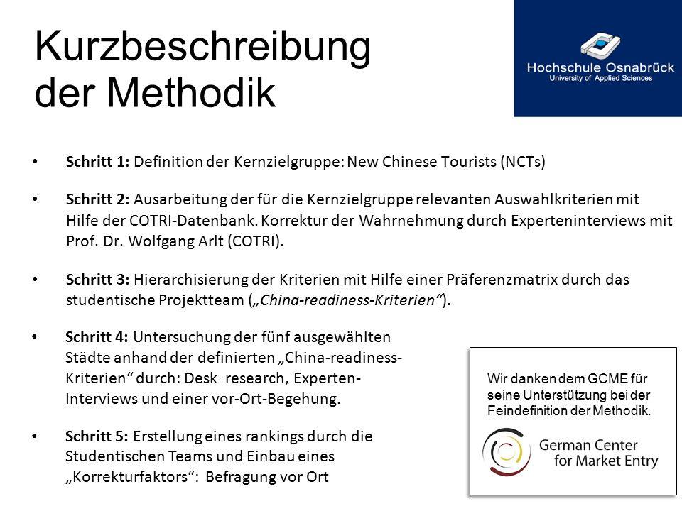 Kurzbeschreibung der Methodik Schritt 1: Definition der Kernzielgruppe: New Chinese Tourists (NCTs) Schritt 2: Ausarbeitung der für die Kernzielgruppe