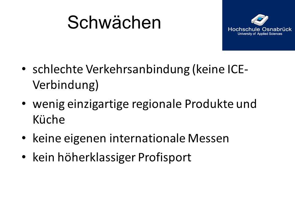 Schwächen schlechte Verkehrsanbindung (keine ICE- Verbindung) wenig einzigartige regionale Produkte und Küche keine eigenen internationale Messen kein