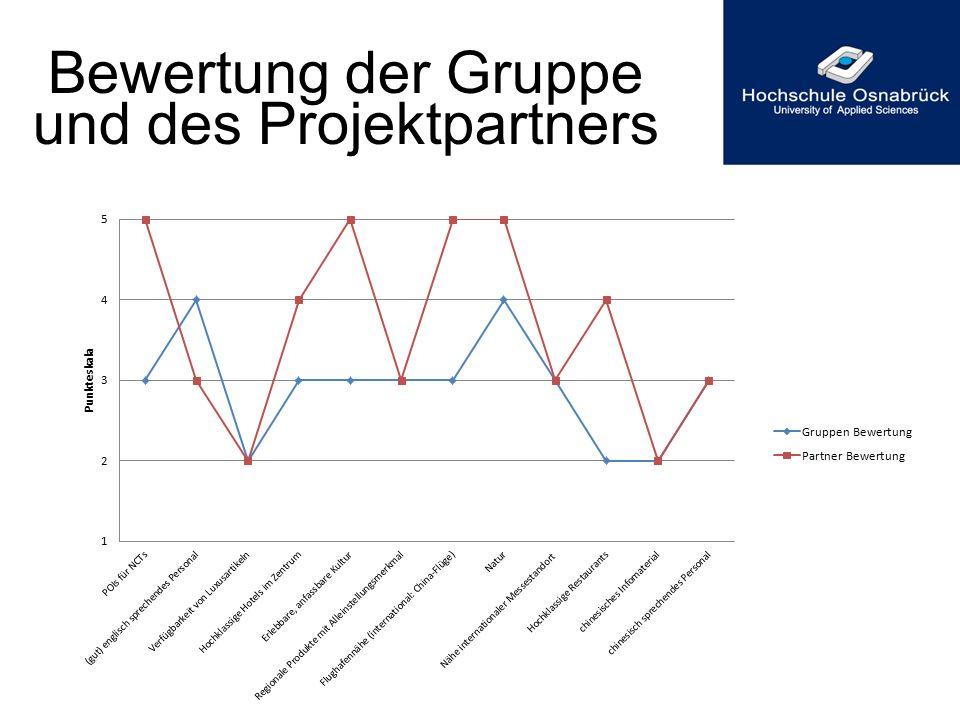 Bewertung der Gruppe und des Projektpartners