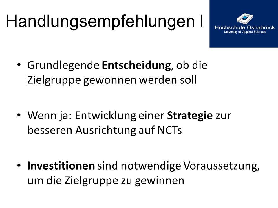Handlungsempfehlungen I Grundlegende Entscheidung, ob die Zielgruppe gewonnen werden soll Wenn ja: Entwicklung einer Strategie zur besseren Ausrichtun