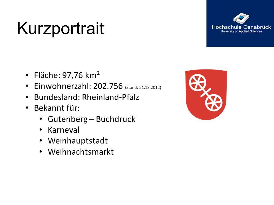 Kurzportrait Fläche: 97,76 km² Einwohnerzahl: 202.756 (Stand: 31.12.2012) Bundesland: Rheinland-Pfalz Bekannt für: Gutenberg – Buchdruck Karneval Wein