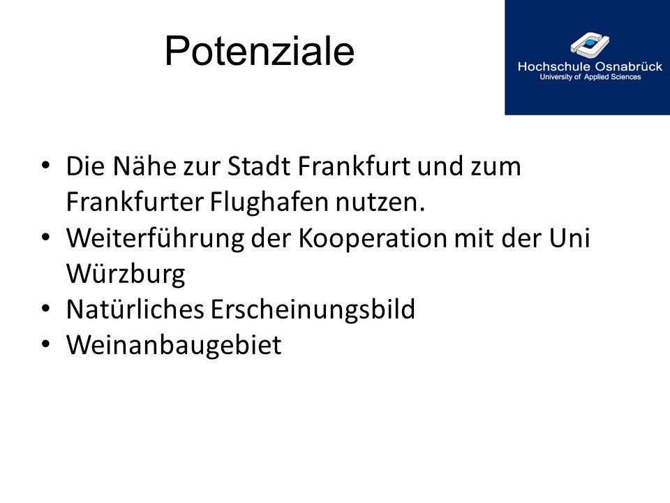 Potenziale Die Nähe zur Stadt Frankfurt und zum Frankfurter Flughafen nutzen. Weiterführung der Kooperation mit der Uni Würzburg Natürliches Erscheinu