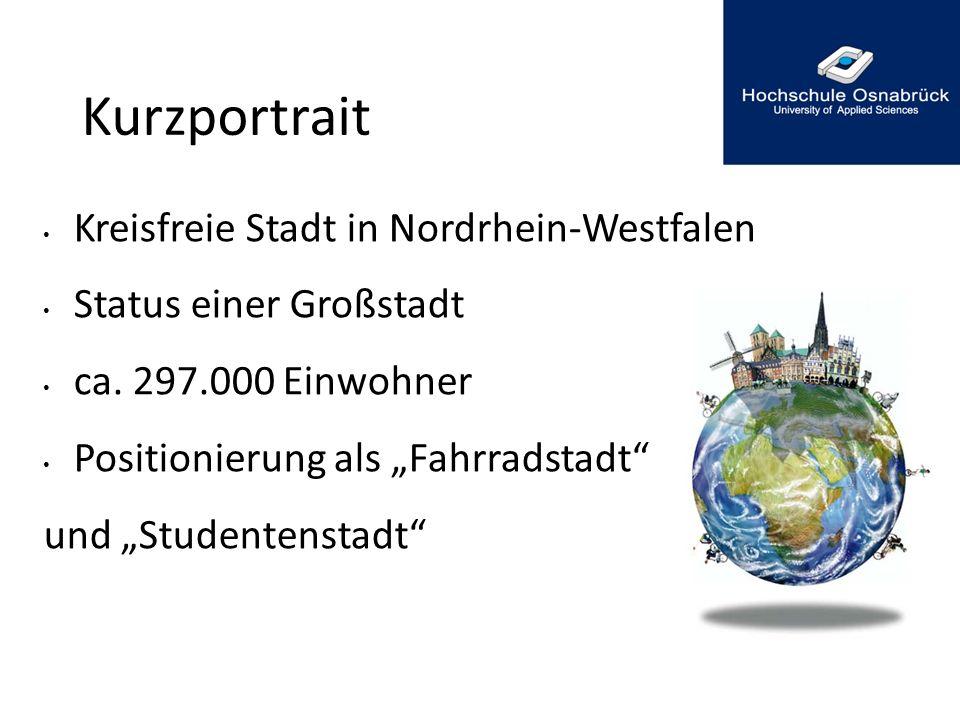 """Kurzportrait Kreisfreie Stadt in Nordrhein-Westfalen Status einer Großstadt ca. 297.000 Einwohner Positionierung als """"Fahrradstadt"""" und """"Studentenstad"""
