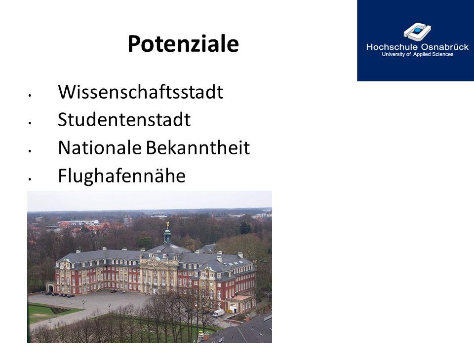Potenziale Wissenschaftsstadt Studentenstadt Nationale Bekanntheit Flughafennähe