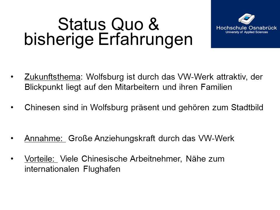Status Quo & bisherige Erfahrungen Zukunftsthema: Wolfsburg ist durch das VW-Werk attraktiv, der Blickpunkt liegt auf den Mitarbeitern und ihren Famil