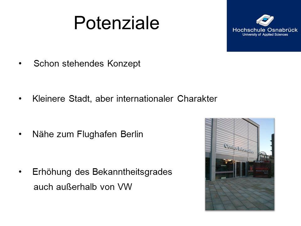 Potenziale Schon stehendes Konzept Kleinere Stadt, aber internationaler Charakter Nähe zum Flughafen Berlin Erhöhung des Bekanntheitsgrades auch außer