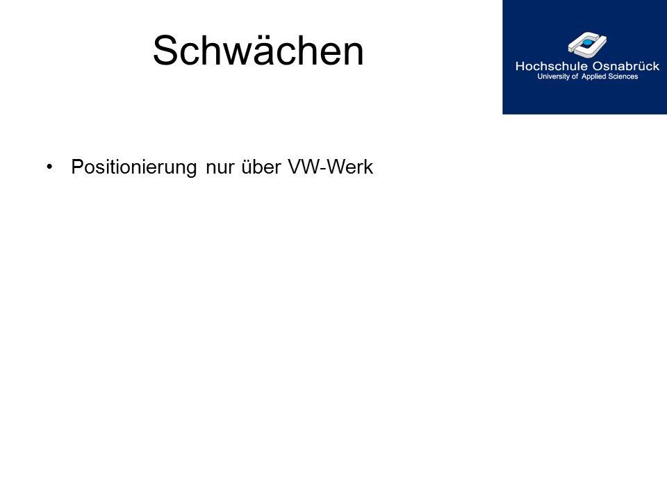 Schwächen Positionierung nur über VW-Werk