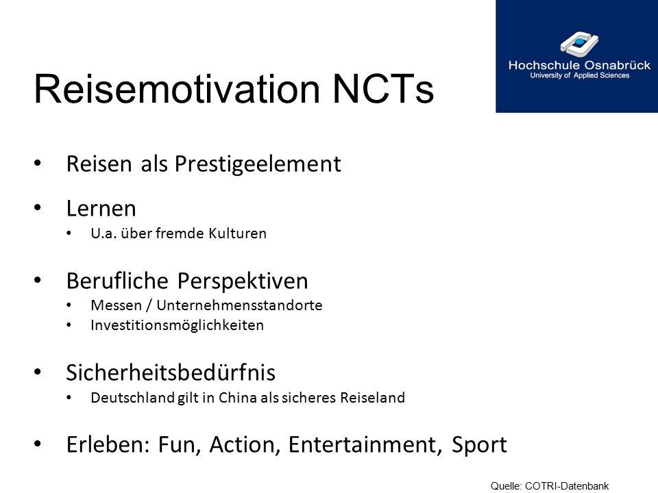 Reisemotivation NCTs Reisen als Prestigeelement Lernen U.a. über fremde Kulturen Berufliche Perspektiven Messen / Unternehmensstandorte Investitionsmö