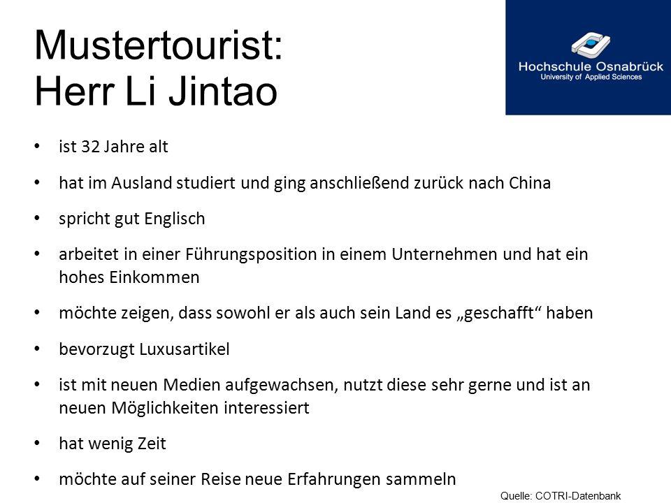 Mustertourist: Herr Li Jintao ist 32 Jahre alt hat im Ausland studiert und ging anschließend zurück nach China spricht gut Englisch arbeitet in einer