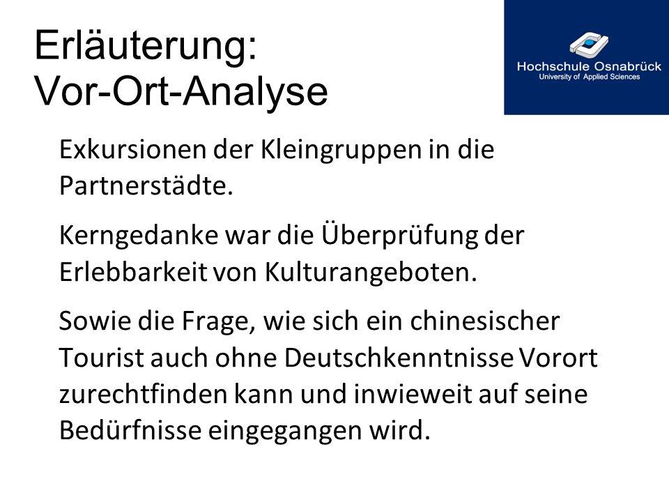 Erläuterung: Vor-Ort-Analyse Exkursionen der Kleingruppen in die Partnerstädte. Kerngedanke war die Überprüfung der Erlebbarkeit von Kulturangeboten.