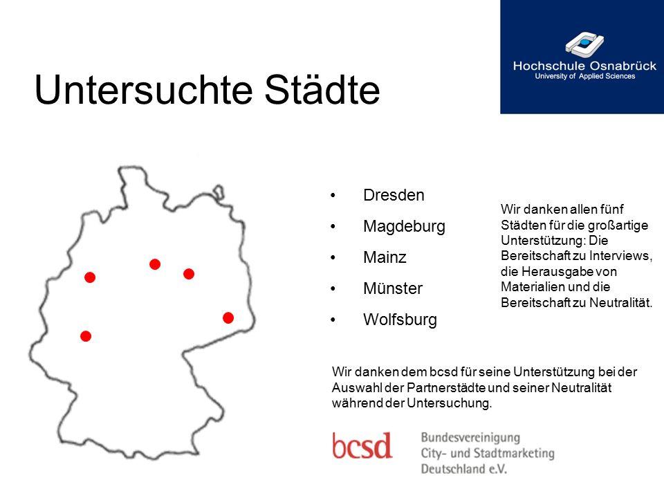 Untersuchte Städte Dresden Magdeburg Mainz Münster Wolfsburg Wir danken dem bcsd für seine Unterstützung bei der Auswahl der Partnerstädte und seiner
