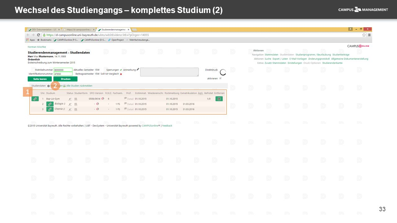33 Wechsel des Studiengangs – komplettes Studium (2) 2 1