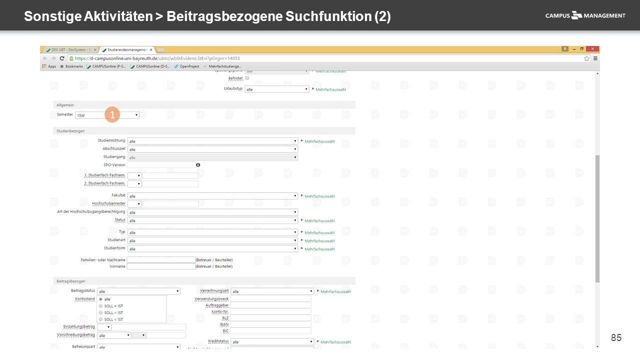 85 Sonstige Aktivitäten > Beitragsbezogene Suchfunktion (2) 1