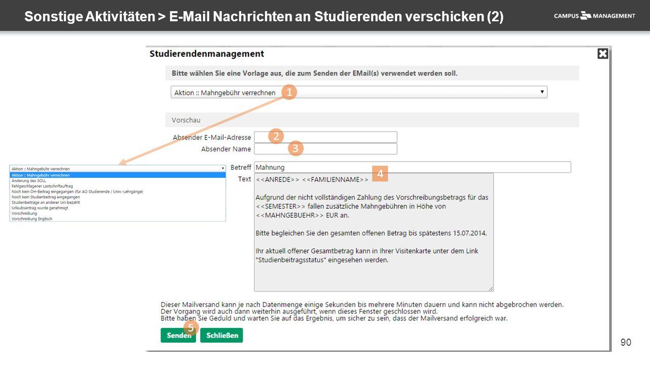 90 Sonstige Aktivitäten > E-Mail Nachrichten an Studierenden verschicken (2) 1 2 3 5 4